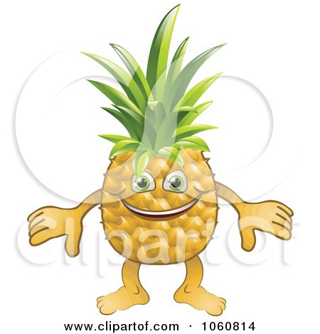 Royalty-Free Vector Clip Art Illustration of a Happy Pineapple Character by AtStockIllustration