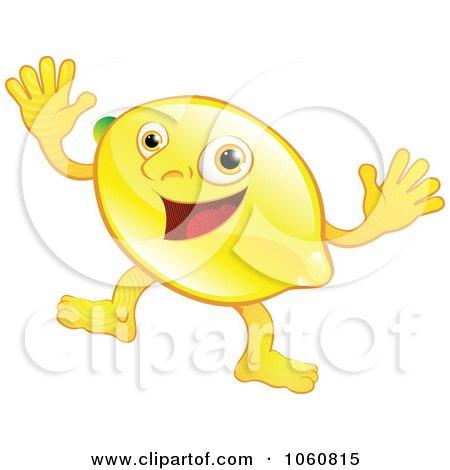 Royalty-Free Vector Clip Art Illustration of a Happy Lemon Character Waving Both Hands by AtStockIllustration