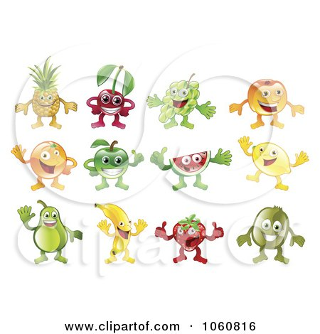Royalty-Free Vector Clip Art Illustration of a Digital Collage Of Fruit Characters by AtStockIllustration