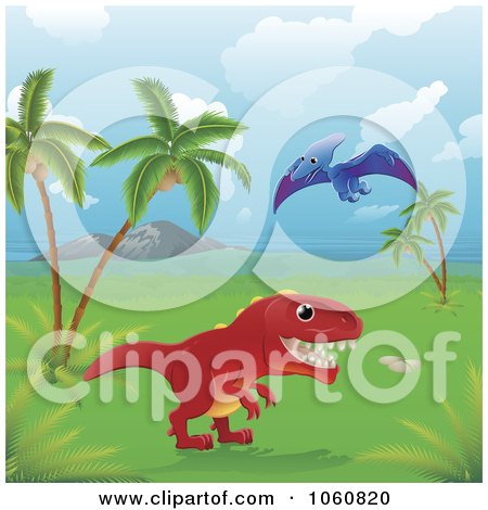 Royalty-Free Vector Clip Art Illustration of Dinosaurs In A Tropical Landscape by AtStockIllustration