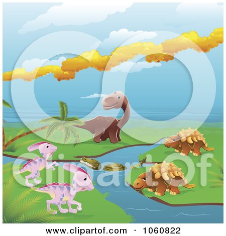 Royalty-Free Vector Clip Art Illustration of Dinosaurs By A Stream by AtStockIllustration