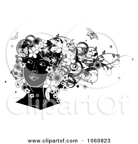 Royalty-Free Vector Clip Art Illustration of a Black And White Woman's Face, With Flowers And Butterflies by AtStockIllustration