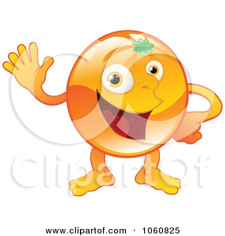 Royalty-Free Vector Clip Art Illustration of a Happy Orange Character Waving by AtStockIllustration