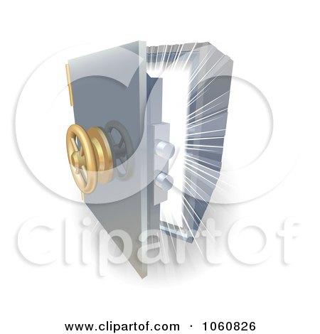Royalty-Free Vector Clip Art Illustration of a Bright Light Shining From Inside A 3d Safe by AtStockIllustration