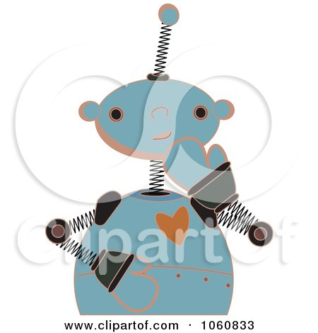Royalty-Free Vector Clip Art Illustration of a Shy Springy Robot by mheld