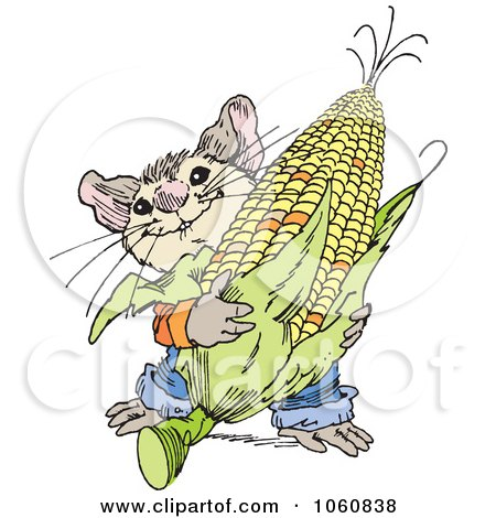 Royalty-Free Vector Clip Art Illustration of a Cute Mouse Harvesting Corn by Johnny Sajem