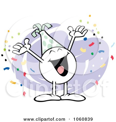Royalty-Free Vector Clip Art Illustration of a Happy Moodie Character Celebrating by Johnny Sajem