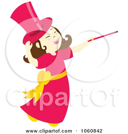 Royalty-Free Vector Clip Art Illustration of a Magician Girl With A Wand by Cherie Reve