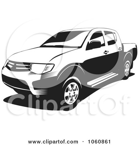 Royalty-Free Vector Clip Art Illustration of a Black And White L200 Pickup Truck by David Rey