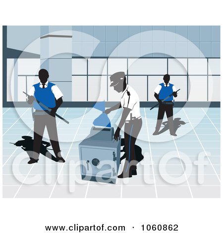 Royalty-Free Vector Clip Art Illustration of Guards By A Safe by David Rey