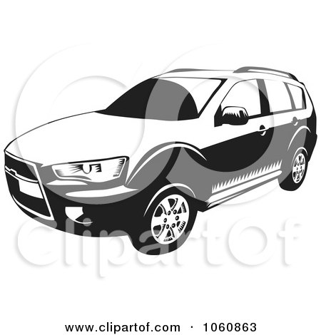 Royalty-Free Vector Clip Art Illustration of a Black And White Outlander SUV Car by David Rey