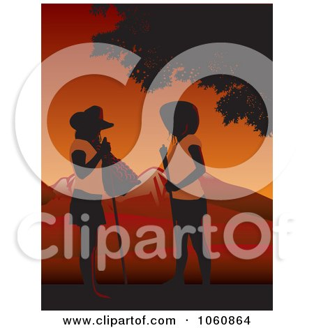 Royalty-Free Vector Clip Art Illustration of Two Female Farm Workers Chatting At Sunset by David Rey