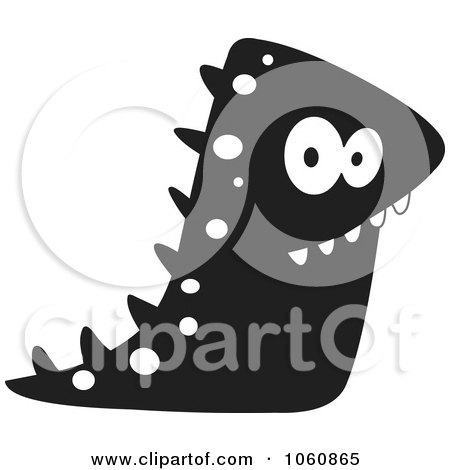Royalty-Free Vector Clip Art Illustration of a Black And White Monster - 5 by yayayoyo