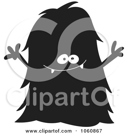 Royalty-Free Vector Clip Art Illustration of a Black And White Monster - 7 by yayayoyo