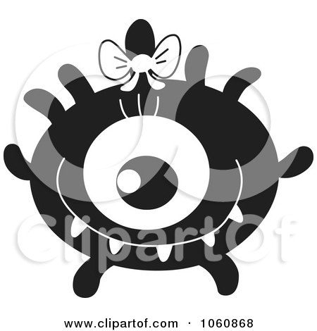 Royalty-Free Vector Clip Art Illustration of a Black And White Monster - 6 by yayayoyo