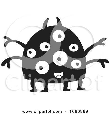 Royalty-Free Vector Clip Art Illustration of a Black And White Monster - 2 by yayayoyo