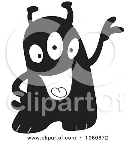 Royalty-Free Vector Clip Art Illustration of a Black And White Monster - 1 by yayayoyo