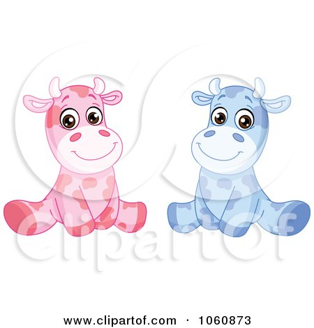 Royalty-Free Vector Clip Art Illustration of a Digital Collage Of Cute Baby Cows Sitting Upright by yayayoyo
