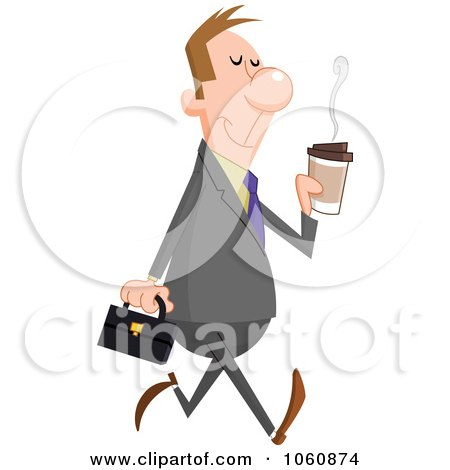 Royalty-Free Vector Clip Art Illustration of a Pleasant Businessman Walking With A Cup Of Coffee by yayayoyo