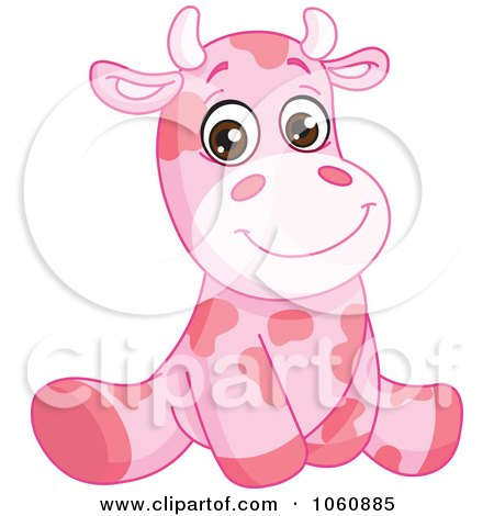 Royalty-Free Vector Clip Art Illustration of a Cute Pink Baby Cow Sitting Upright by yayayoyo