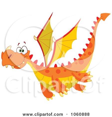 Royalty-Free Vector Clip Art Illustration of a Flying Orange Dragon by yayayoyo