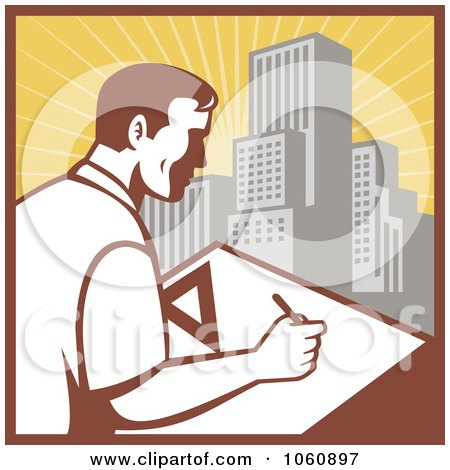 Royalty-Free Vector Clip Art Illustration of an Architect Drafting - 2 by patrimonio