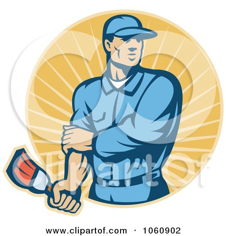 Royalty-Free Vector Clip Art Illustration of a Painter Holding A Brush by patrimonio