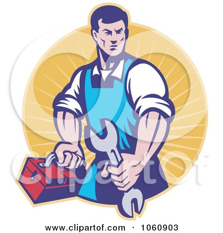 Royalty-Free Vector Clip Art Illustration of a Mechanic Holding A Spanner by patrimonio