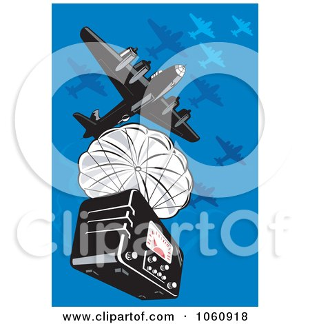 Royalty-Free Vector Clip Art Illustration of a Military Bomber Plane Dropping A Radio by patrimonio
