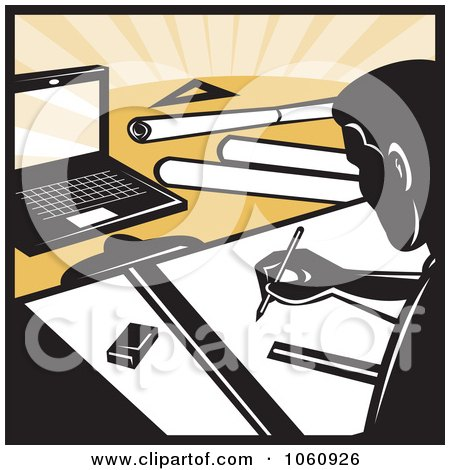 Royalty-Free Vector Clip Art Illustration of an Architect Drafting - 1 by patrimonio
