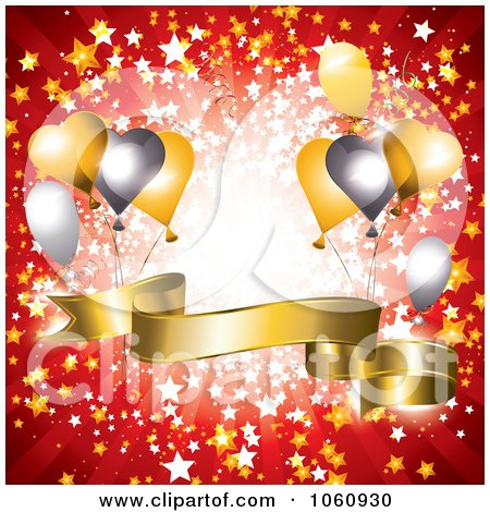 Royalty-Free Vector Clip Art Illustration of a Red Ray Background With A Golden 3d Banner And Party Balloons by MilsiArt