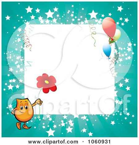 Royalty-Free Vector Clip Art Illustration of an Orange Blinky Holding A Daisy On A Turquoise Starry Frame With Party Balloons by MilsiArt