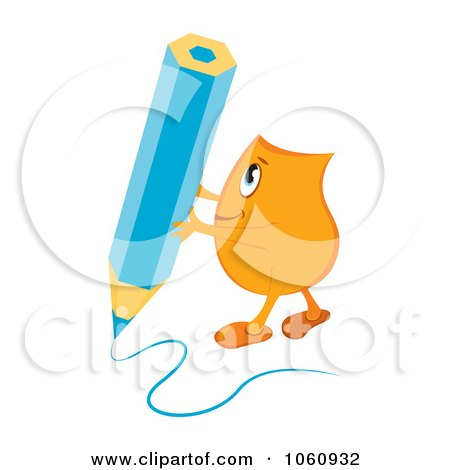 Royalty-Free Vector Clip Art Illustration of an Orange Blinky Character Writing With A Blue Pencil by MilsiArt