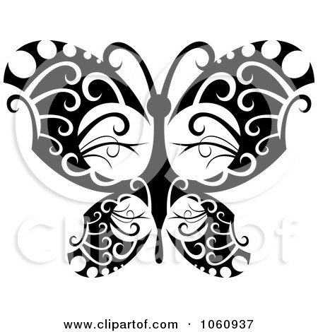 Royalty-Free Vector Clip Art Illustration of a Unique Black And White Butterfly Tattoo Design - 1 by Vector Tradition SM
