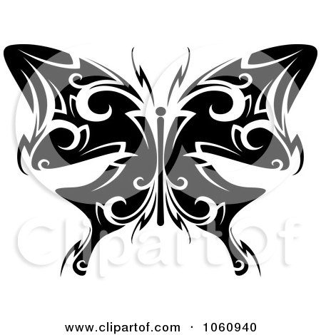 Royalty-Free Vector Clip Art Illustration of a Unique Black And White Butterfly Tattoo Design - 5 by Vector Tradition SM