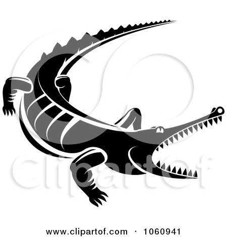 Royalty-Free Vector Clip Art Illustration of a Black And White Snapping Crocodile by Vector Tradition SM