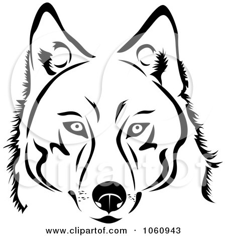 Royalty-Free Vector Clip Art Illustration of a Black And White Husky Dog Face by Vector Tradition SM