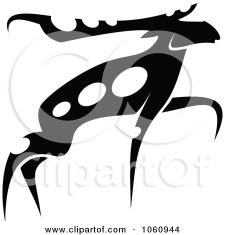 Royalty-Free Vector Clip Art Illustration of a Black And White Moose - 4 by Vector Tradition SM