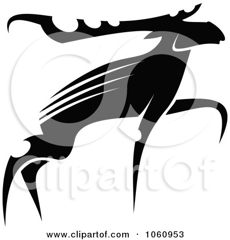 Royalty-Free Vector Clip Art Illustration of a Black And White Moose - 2 by Vector Tradition SM