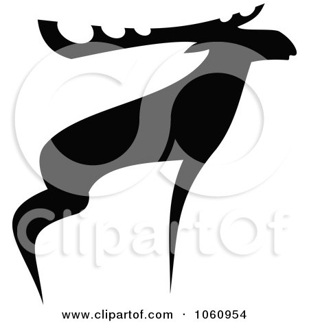 Royalty-Free Vector Clip Art Illustration of a Black And White Moose - 1 by Vector Tradition SM