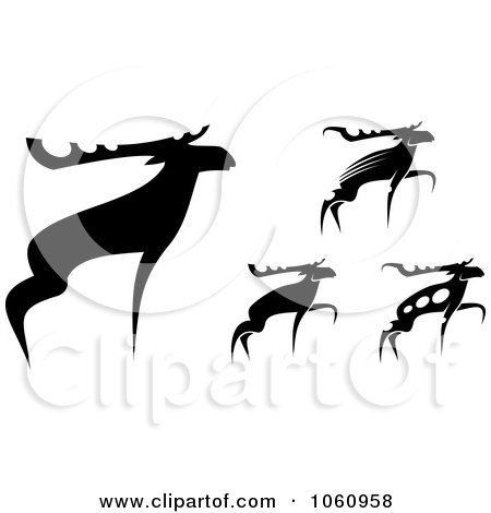 Royalty-Free Vector Clip Art Illustration of a Digital Collage Of Black And White Moose by Vector Tradition SM