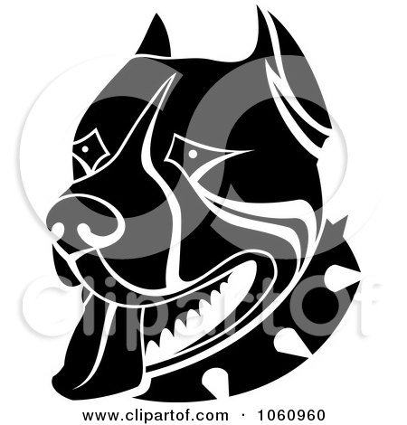 Royalty-Free Vector Clip Art Illustration of a Black And White Guard Dog Face With A Spiked Collar by Vector Tradition SM