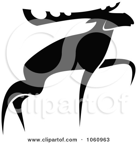 Royalty-Free Vector Clip Art Illustration of a Black And White Moose - 3 by Vector Tradition SM
