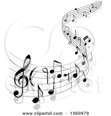 Royalty-Free Vector Clip Art Illustration of a Background Of Staff And Music Notes - 13 by Vector Tradition SM