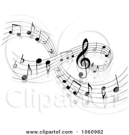 Royalty-Free Vector Clip Art Illustration of a Background Of Staff And Music Notes - 2 by Vector Tradition SM