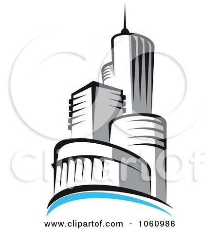 Royalty-Free Vector Clip Art Illustration of a Skyscraper Logo - 5 by Vector Tradition SM