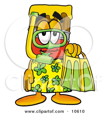 Paint Brush Mascot Cartoon Character in Green and Yellow Snorkel Gear Posters, Art Prints