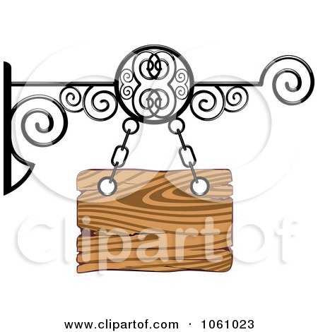 Royalty-Free Vector Clip Art Illustration of a 3d Wooden Store Front Shingle Sign With Wrought Iron by Vector Tradition SM