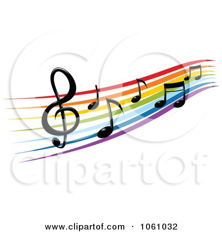 rainbow staff and music notes 2 posters art prints by vector rh clipartof com Music Note Clip Art White Music Note Vector