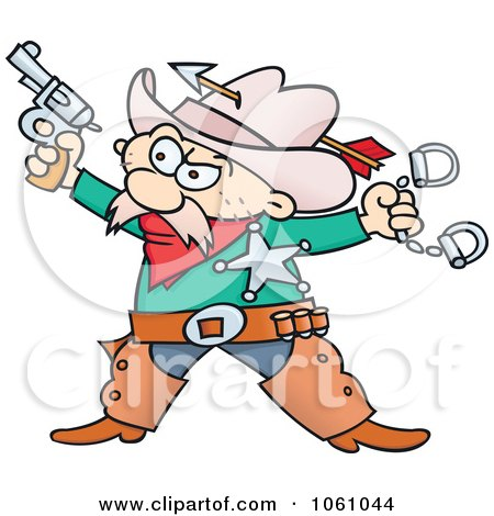 Royalty-Free Vector Clip Art Illustration of a Western Sheriff Cowboy Holding A Pistol And Handcuffs by gnurf
